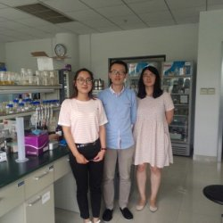 Members of Cathie Martin and Qing Zhao's new lab at the Chenshan Botanical Garden - Mengying, Jie and Qing - next to their benches
