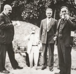 Haldane inspecting the John Innes bomb shelter. He maintained friendly relations with JI staff after he left JI, despite the turbulent time he'd had there