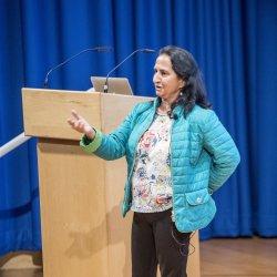 Dr Manjit Dosanjh, Senior Advisor for Medical Applications at CERN, was the second inspiring speaker