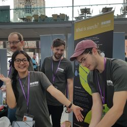 Members of the lab helping run a starch based stall as part of Norwich Science Festival - 2019